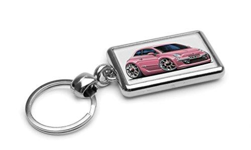 wickedartz-cartoon-car-fiat-500-2007-pink-premium-metal-key-ring