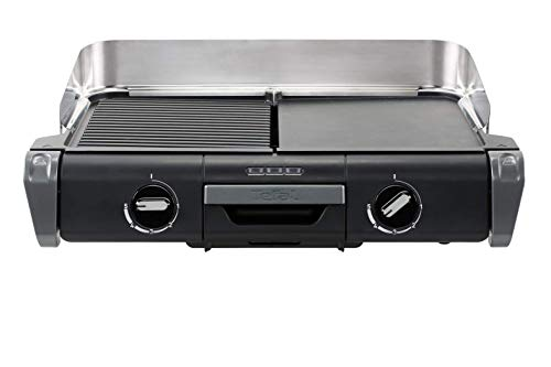 Tefal TG804D14 Barbecue Électrique BBQ Family Flavor 2 en 1 de Table Grill Plancha Thermostat Réglable 2 Surfaces de...