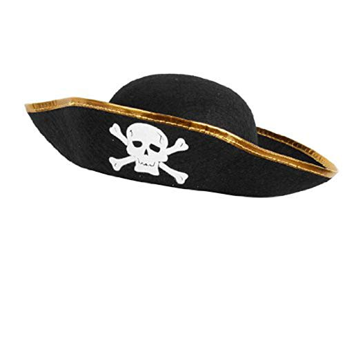 Domire Piraten-Cap Schädel-Druck Piraten-Kapitän Kostüm Cap Halloween-Maskerade-Cosplay Zubehör Props Partyangebot (Hollywood Piraten Kostüm)