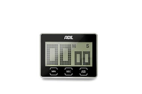 ADE Digitaler Küchentimer TD 1203 mit extra großem XL LCD-Display. Elektronischer Kurzzeitmesser mit Countdown und Stoppuhr, Sensor-Tasten, Standfuß und Magnet-Aufhängung. Akustisches Signal. Eieruhr