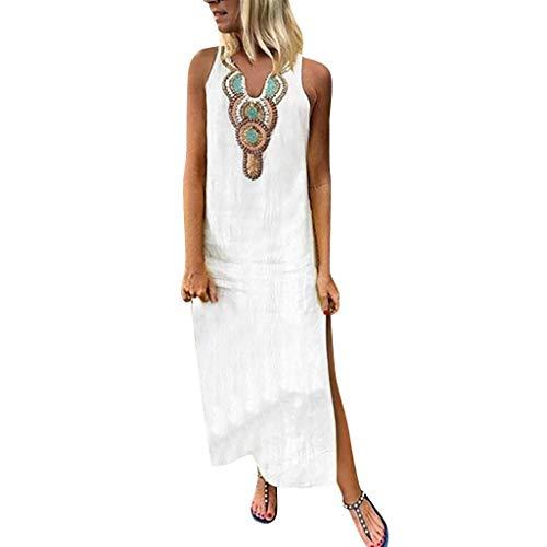 URIBAKY Leinen Kaftan-Kleid Damen Sommerkleid ärmelloses Maxikleid,T-Shirtkleid,Party Kleid,mit V-Ausschnitt und langärmligem,Bedrucktes