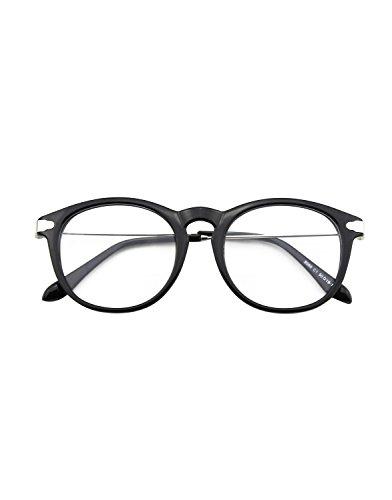 CN88 Klassische Nerdbrille rund Keyhole 40er 50er Jahre Pantobrille Vintage Look clear lens,Glossy...