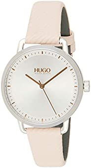 Hugo Boss Women's Silver White Dial Pink Leather Watch - 154