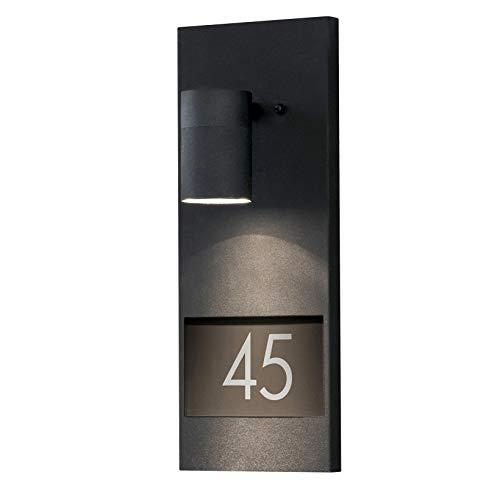 LED Hausnummerleuchte DOM Außenleuchte, 1-Flammig, Aluminium, Schwarz, GU10-230V, (Form:W22) (DIMMBAR / Warmweiß)
