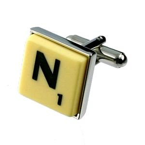English Gems boutons de manchette Lettre N X2 avec étui Noir