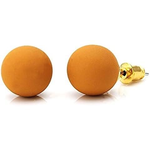 Chic-Net–Orecchini da donna Brass Orecchini Brass Spina acrilico senza nickel sfera multicolore, marrone