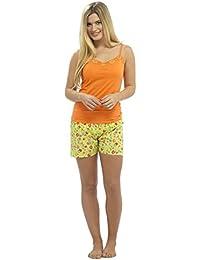 099498aa7b Ladies Womens Girls Floral Check Pyjamas Short Vest Pink Orange PJ Set Size  8-18