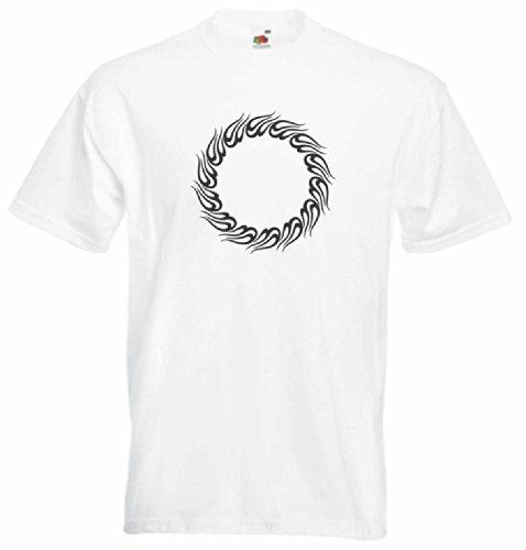 T-Shirt Herren feuer-Attacke Weiß