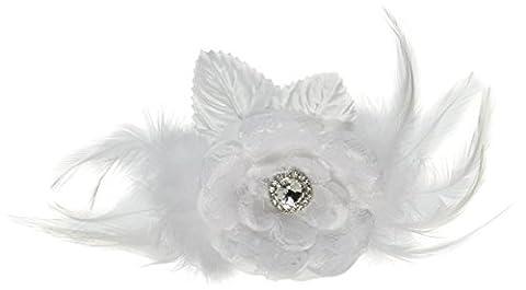 Lillian Rose Dentelle et plumes Pince à cheveux/broches, 22,9cm, Blanc