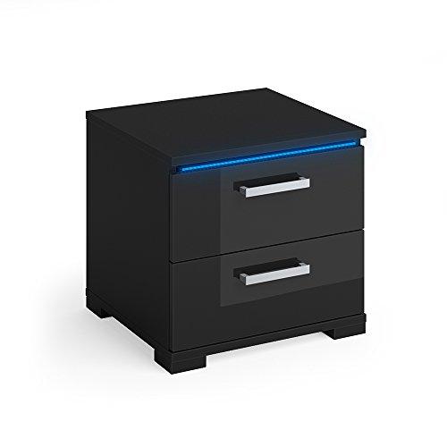 VICCO Nachtschrank Picot schwarz Hochglanz LED Nachttisch Kommode Schrank Schlafzimmer Schublade -