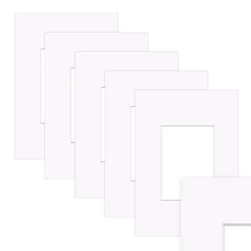 PHOTOLINI 5X Passepartout Weiß 30x40 cm (20x30 cm) Reinweiß