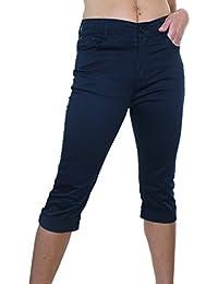 ICE (1511) Pantacourt en Jeans Extensible Brillant à Revers