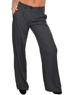 (1402-3) Mujeres Pantalones pierna ancha de la red inteligente Finta raya gris