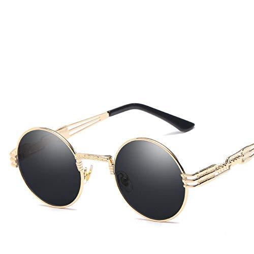 Sonnenbrille Herren Gold Und Schwarz Sonnenbrille Vintage Round Circle Damen UV Gafas De Sol (Lenses Color : Gold Gray)
