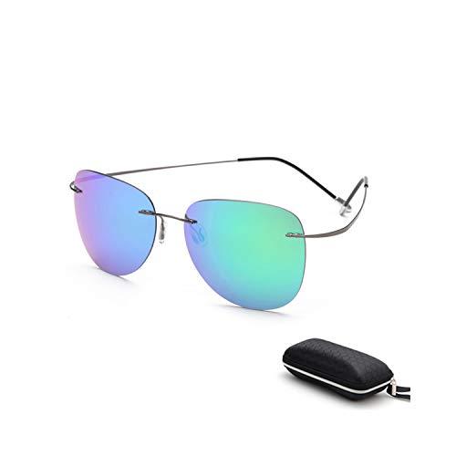 Vikimen Sportbrillen, Angeln Golfbrille,With Case Polarisiert Titanium Sunglasses Polaroid Brand Designer Rimless Gafas Men Sun Glasses Sunglasses For Men ZP2117 C8 CASE