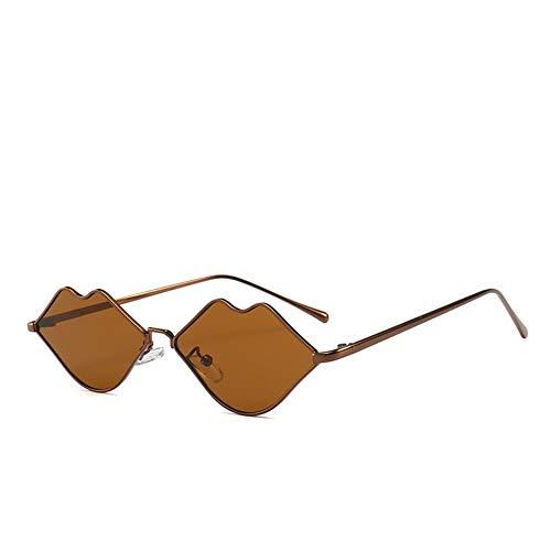 RM-WANGLUO-HZ Retro Lippen geformt Metall Sonnenbrille weibliche Street Fashion Sonnenbrille rot, rosa, schwarz Extremely Light (Color : C5 Bronze Frame Full Tea Piece)