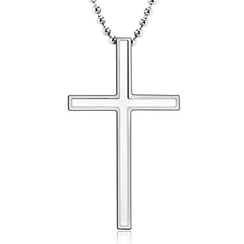 Bishilin Stainless Steel Cross Immanuel Pendant Necklaces for Women Men Silver White Size 1.8x3.1CM