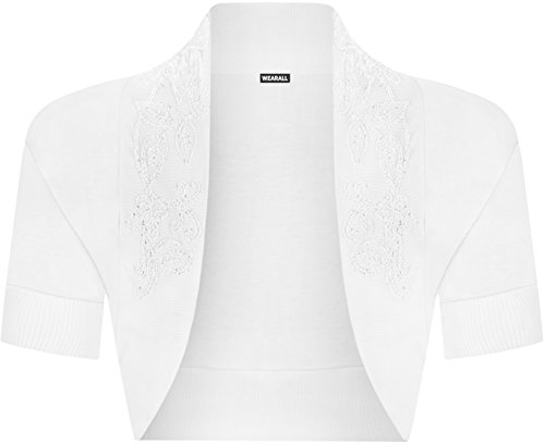 WearAll - Manches courtes cardigan - Hauts - Femme - Tailles 36-42 Blanc