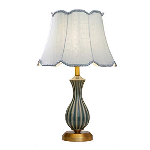 Lampes de table en Céramique Lampe De Chambre Chambre Chevet De Cuivre Lampe Maison Européenne Salon Lampe Chaud Romantique Etude (Color : Green, Size : 37 * 58cm)
