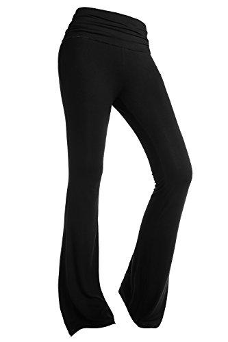 BAISHENGGT - Femme Pantalon de Yoga Jogging Sport Elastique Extensible Noir XL