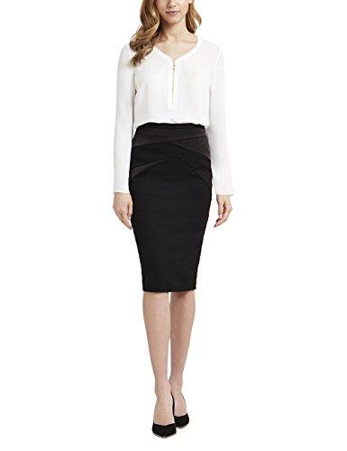 Lipsy Damen Bluse Elegant Langarm Front Reißverschluss Normale Passform Weiß 40 (Cami - Knopf-front)