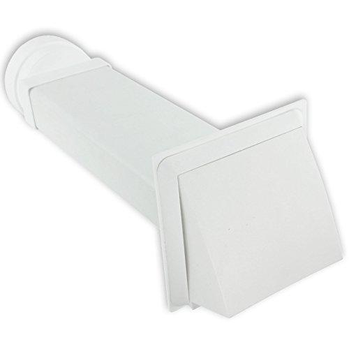 Spares2go Externes Wand Lüftungsgitter Dachhaube Kit for (weiß) mit Dampföffnung für Miele Trockner