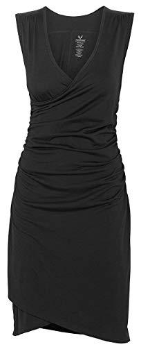 MERINO POWER Merinopower Damen Kleid mit Raffung am Bauch und in Wickel-Optik aus Reiner Merinowolle, XS, Schwarz -
