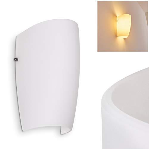 Wandlampe Severo in Weiß, moderne Wandleuchte aus Glas mit Lichteffekt, 1 x E27-Fassung, max. 60 Watt, Innenwandleuchte mit Up & Down-Effekt, geeignet für LED Leuchtmittel -