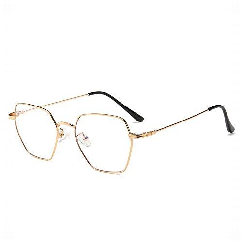 WULE-RYP Polarisierte Sonnenbrille mit UV-Schutz Retro Square Flat Lens Brillengestell Computer Brillen für Damen Herren. Superleichtes Rahmen-Fischen, das Golf fährt (Farbe : Golden)
