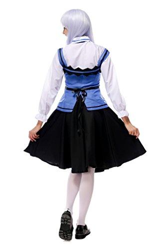 Smile YKK Femme Cosplay Maid Serveur Halloween Déguisement Costume Noir Bleu