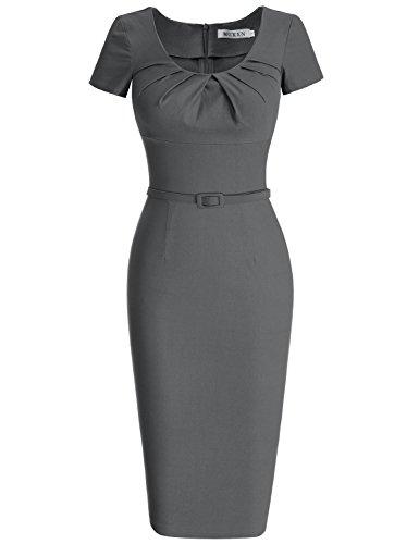 MUXXN Femme Robes Pin-up Robe De Soirée Robe Rockabilly Crayon MX-7089(S,Grey)
