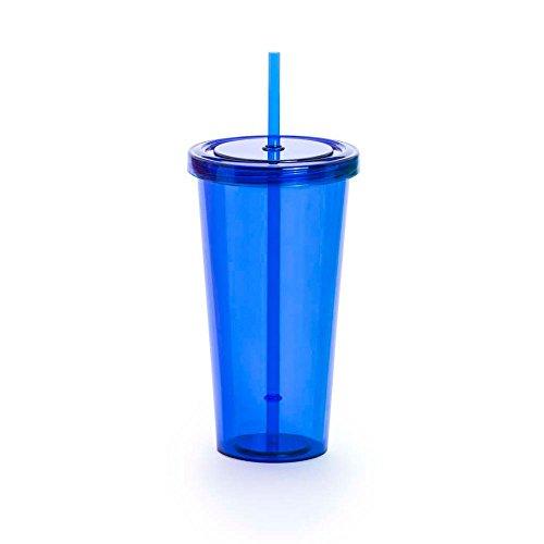 Smoothie-Becher mit Strohhalm - JUICE & GEFRORENES KAFFEE - BPA FREE-Plastikreise- (blau) (Stroh Kinder-kunststoff-becher Mit)