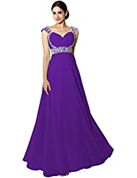 Clearbridal Womens Long Chiffon Prom Evening Party Dress A-Line Bridesmaid Gowns with Crystal Beaded