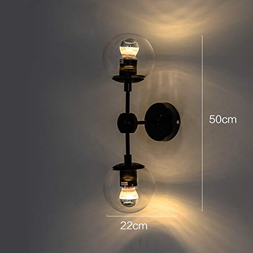 BXX Lampe, kreative Kunst Lampe Retro Industrie Lampe Glaskugel Wand Restaurant Bekleidungsgeschäft Gesund und umweltfreundlich Schützen Sie die Augen,Amber Shade,2 Köpfe