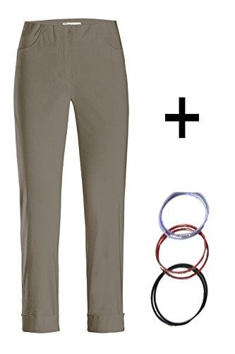 Stehmann - Stretchhose Igor 680 - mit EXTRA-Fashion Armreif - Umschlag und Gesäßtaschen - Schmale Pull-On Hose lehm - schlamm