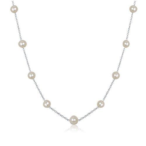 JFUME Collana di Donne Collana di Perle d'Acqua Dolce Argento 925 Bianco