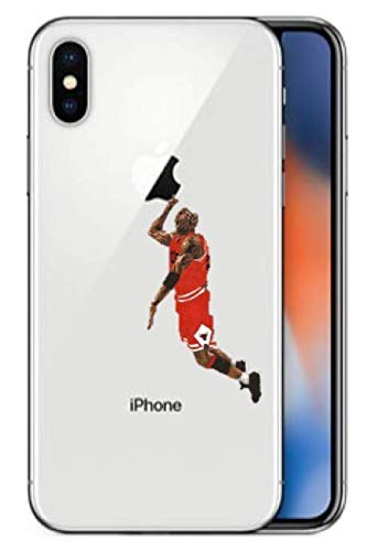 Art Design Hülle für iPhone X/iPhone XS Michael Jordan 23 Avec Balle Dunk Chicago Bulls weiß et rot Basketball NBA Soft Silikon