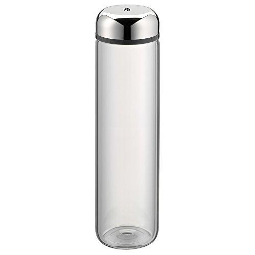 WMF Basic Trinkflasche, 750 ml, Höhe 26 cm, Glasflasche, für Warm- und Kaltgetränke, Glas, Cromargan Edelstahl, in Geschenkkarton, Grau