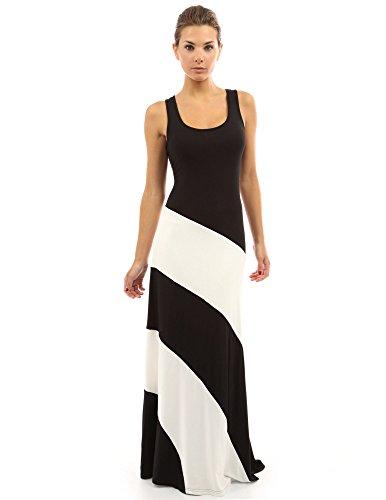 PattyBoutik Damen Racerback gestreiftes Maxi-Kleid mit Rundhalsausschnitt und ärmellos (Schwarz und Elfenbeinweiß M 40) -