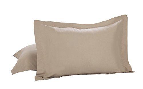 Levinsohn Textile Microfiber Sham 2-Inch Flange, Standard/Queen, Mocha, 2-Pack by Levinsohn -