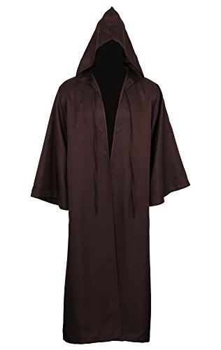 Cusfull mantello con cappuccio costume di halloween felpa con cappuccio cappotto (l, marrone per adulti)