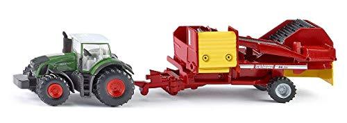 SIKU 1808, Fendt Traktor mit Kartoffelroder, 1:87, Metall/Kunststoff, Grün/Rot, Multifunktional