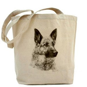 Mike Sibley German Shepherd Dog (image 1) CANVAS Cotton Natural Shopper Tote Bag