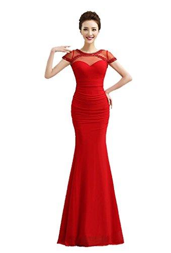 Beauty-Emily Maxi langes V Zurück Transparent mit Kurzarm Strass Sexy Meerjungfrau Quinceanera Abendkleider vestidos de festa Farbe Rot. Größe 46 (Vestidos Quinceanera De)