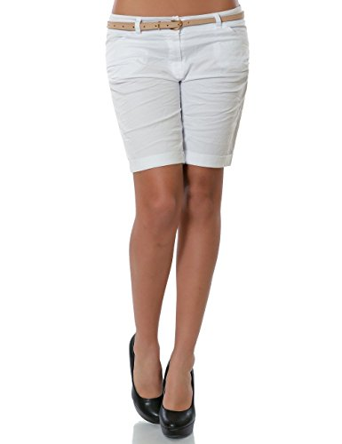 Damen Shorts Chino Kurze Hose inkl. Gürtel No 13908 Weiß 36 / S -