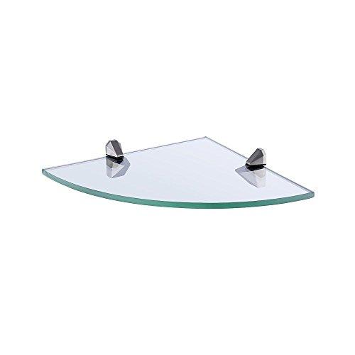 Kes angolo mensola in vetro bagno archiviazione organizzatore mensola con 8 mm-spessore temperato vetro e spazzolato nickel metallo staffa montaggio a parete, bgs3105-2