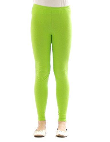 Kinder Mädchen Leggings lang blickdicht aus Baumwolle Hose Jungen Hellgrün 152