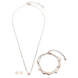 Happiness Boutique Damen Feines Schmuckset Roségold | Herz Ohrringe Filigrane Kette mit Herzanhänger und Mehrreihiges Armband 3-teiliges Set