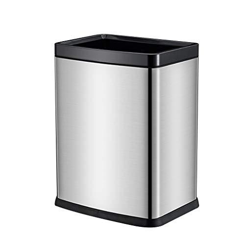 Trash can Open Top Mülleimer, doppelt verdicken Papierkorb, Rechteckform Fingerabdrucksicher, Edelstahl 15L / 4Gal (Farbe : Steel Color) 50l Open Top Bin