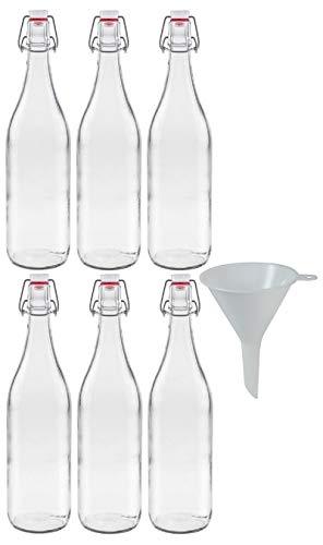 mikken 6X Glasflasche 1 Liter mit Bügelverschluss aus Porzellan, inkl einem Trichter